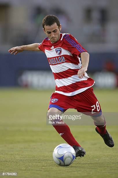 Dallas midfielder Chase Wileman passes the ball during a third-round U.S. Open Cup game against Miami FC Blues, on July 1, 2008 at Pizza Hut Park in...