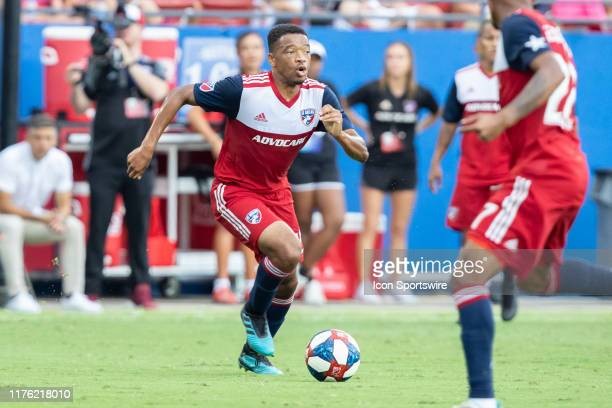 Dallas midfielder Jacori Hayes dribbles up field during the MLS soccer game between FC Dallas and Sporting Kansas City on October 06 at Toyota...