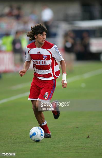 FC Dallas midfielder Juan Toja takes control of the ball during the FC Dallas against the Chivas USA match on July 4 2007 at Pizza Hut Park in Frisco...
