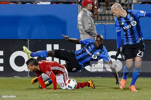 Dallas midfielder Mauro Diaz is fouled by Montreal Impact defender Hassoun Camara during the MLS match between the Montreal Impact and FC Dallas at...