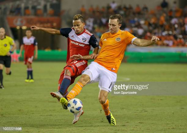 Dallas midfielder Michael Barrios and Houston Dynamo forward Andrew Wenger fight for ball during the soccer match between FC Dallas and Houston...