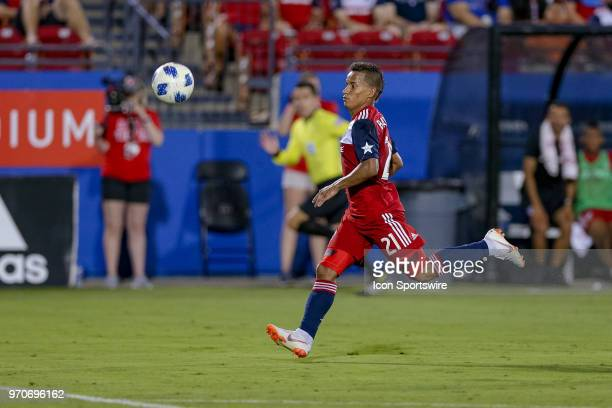 Dallas midfielder Michael Barrios chases a deep pass during the soccer match between the Montreal Impact and FC Dallas on June 9 2018 at Toyota...