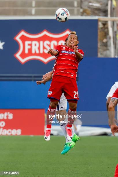 Dallas midfielder Michael Barrios leaps for a header during the MLS match between Real Salt Lake and FC Dallas on June 3 2017 at Toyota Stadium in...
