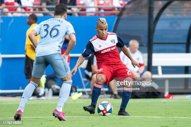 Dallas midfielder Michael Barrios passes the ball during the MLS soccer game between FC Dallas and Sporting Kansas City on October 06 at Toyota...
