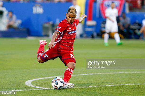 Dallas midfielder Michael Barrios shoots during the MLS match between Real Salt Lake and FC Dallas on June 3 2017 at Toyota Stadium in Frisco TX FC...