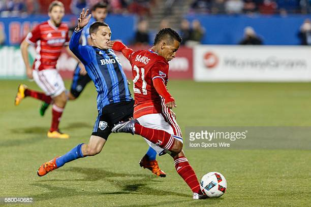 Dallas midfielder Michael Barrios takes a shot during the MLS match between the Montreal Impact and FC Dallas at Toyota Stadium in Frisco, TX. FC...