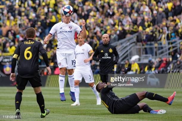 Dallas midfielder Paxton Pomykal heads the ball in the MLS regular season game between the Columbus Crew SC and the FC Dallas on March 16 2019 at...