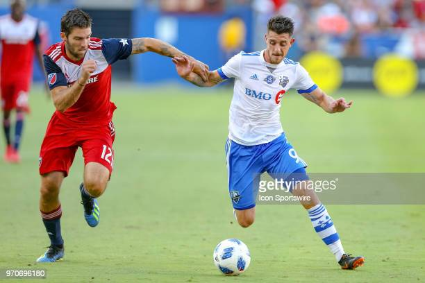 Dallas midfielder Ryan Hollingshead challenges Montreal Impact midfielder Alejandro Silva for the ball during the soccer match between the Montreal...