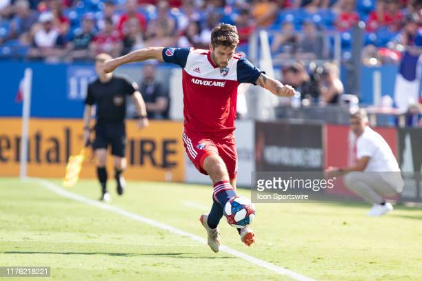 Dallas midfielder Ryan Hollingshead controls the ball along the sideline during the MLS soccer game between FC Dallas and Sporting Kansas City on...