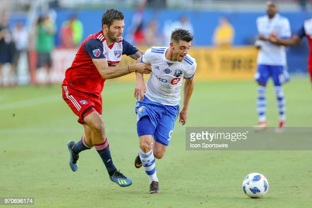 Dallas midfielder Ryan Hollingshead fouls Montreal Impact midfielder Alejandro Silva during the soccer match between the Montreal Impact and FC...