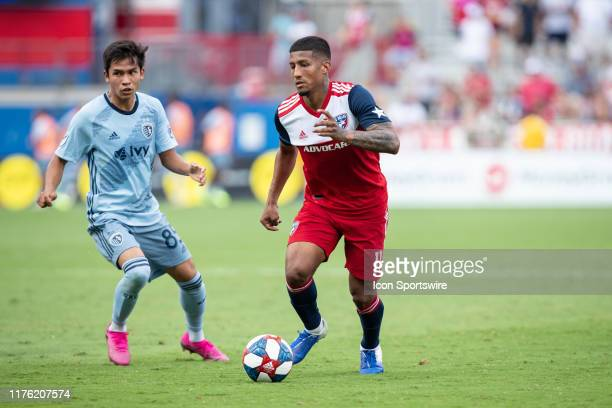 Dallas midfielder Santiago Mosquera dribbles up field during the MLS soccer game between FC Dallas and Sporting Kansas City on October 06 at Toyota...