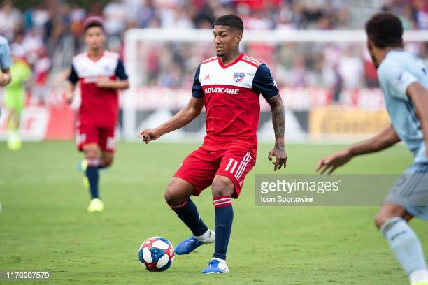 Dallas midfielder Santiago Mosquera passes the ball during the MLS soccer game between FC Dallas and Sporting Kansas City on October 06 at Toyota...