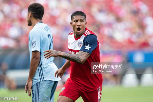 Dallas midfielder Santiago Mosquera reacts after scoring a goal during the MLS soccer game between FC Dallas and Sporting Kansas City on October 06...