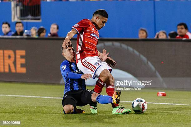 Dallas midfielder Victor Ulloa is fouled from behind by Montreal Impact forward Lucas Ontivero during the MLS match between the Montreal Impact and...