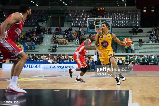 Dallas Moore seen in action during the Euro-cup match between Auxilium Fiat Torino and Openjobmetis Varese. Auxilium Fiat Torino won 72-66 over...