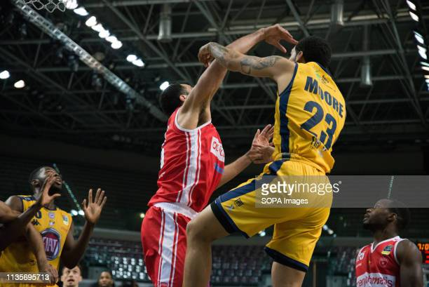 Dallas Moore seen in action during the Eurocup match between Auxilium Fiat Torino and Openjobmetis Varese Auxilium Fiat Torino won 7266 over Varese