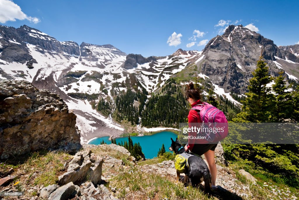 Young Woman Hiker and Dog : Stock Photo