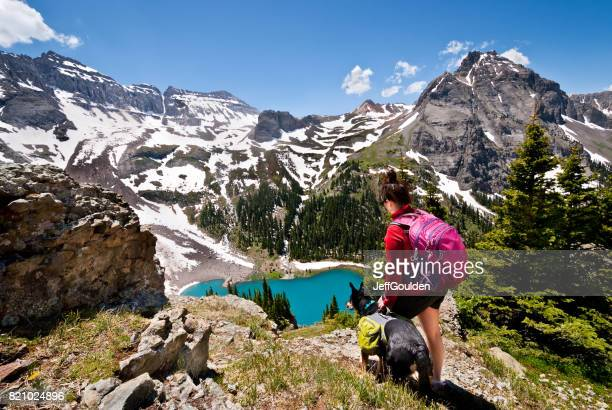 young woman hiker and dog - colorado stock pictures, royalty-free photos & images
