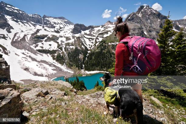 Young Woman Hiker and Dog