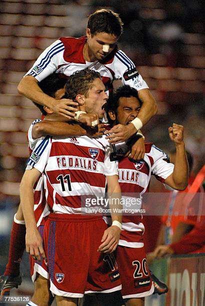 FC Dallas' players celebrate Clarence Goodson's goal in overtime during the game at Pizza Hut Park in Frisco Texas Colorado won the game 54 on PKs...