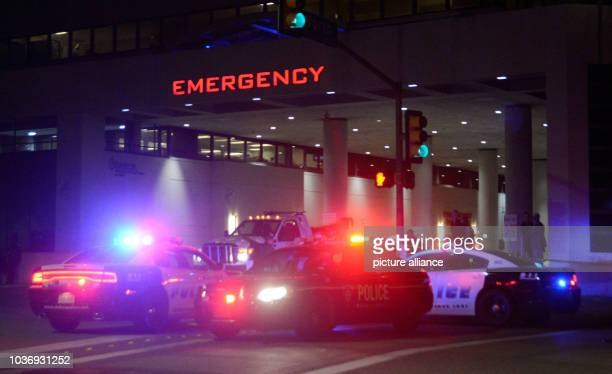 Dallas Police cars in front of the Baylor University medical center after a shooting in Dallas, Texas, USA, 08 July 2016. Police report that five...