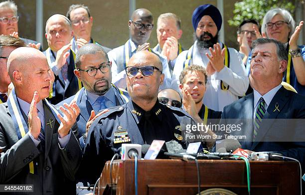 Dallas Police Chief David Brown talks at a prayer service at Thanksgiving Square in Dallas on Friday July 8 2016 On Thursday 12 police officers where...
