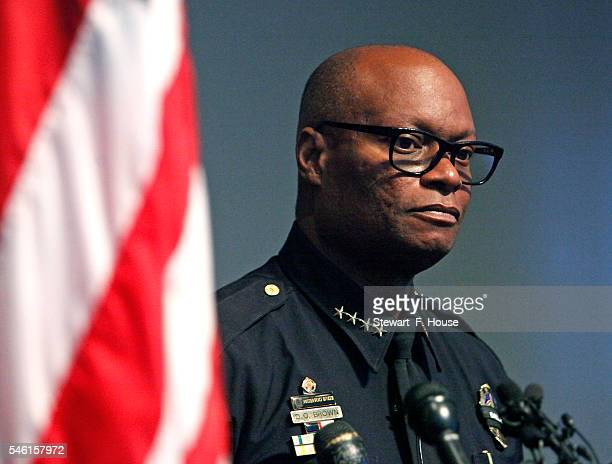 Dallas Police Chief David Brown updates the media at the Jack Evans Police Headquarters building on July 11 2016 in Dallas Texas Most of Dallas got...