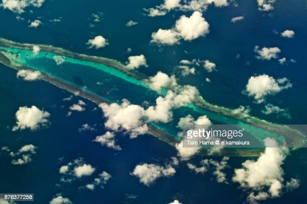 Dallas Reef in Spratly Islands in South China Sea daytime aerial view from airplane
