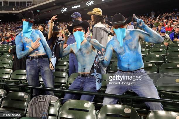 Dallas Renegades fans cheer on their team against the St Louis Battlehawks at an XFL Game on February 09 2020 in Arlington Texas