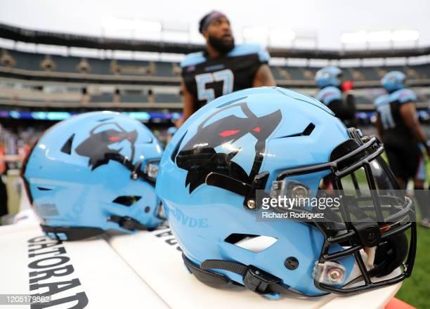Dallas Renegades helmets seen before the XFL football game against the St Louis Battlehawks on February 09 2020 in Arlington Texas