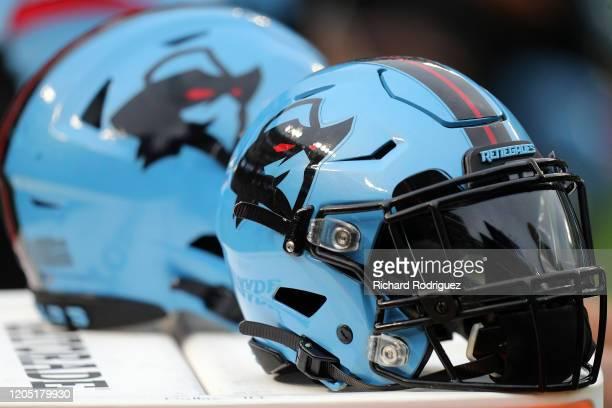 Dallas Renegades helmets seen before the XFL football game against the St. Louis Battlehawks on February 09, 2020 in Arlington, Texas.