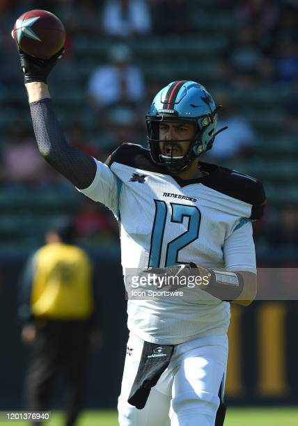Dallas Renegades Landry Jones throws a pass during an XFL game between the Dallas Renegades and the Los Angeles Wildcats on February 16 at Dignity...