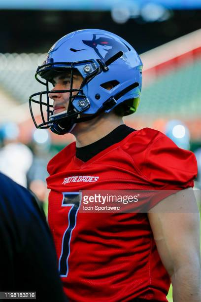 Dallas Renegades quarterback Eric Dungey watches practice during the open practice for the XFL Dallas Renegades on February 1, 2020 at Globe Life...