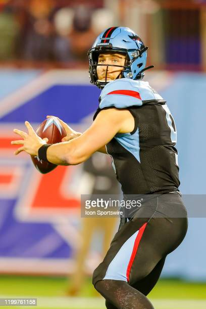Dallas Renegades quarterback Philip Nelson looks downfield for an open receiver during the game between the Dallas Renegades and the St. Louis...