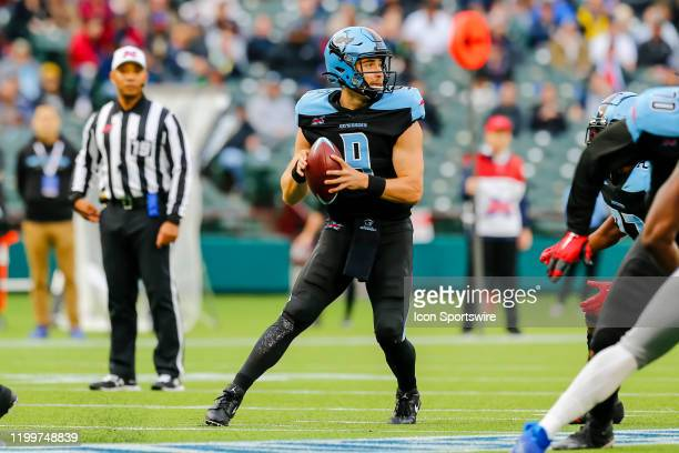 Dallas Renegades quarterback Philip Nelson looks for an open receiver during the game between the Dallas Renegades and the St. Louis Battlehawks on...