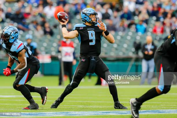 Dallas Renegades quarterback Philip Nelson looks for an open receiver during the game between the Dallas Renegades and the St Louis Battlehawks on...