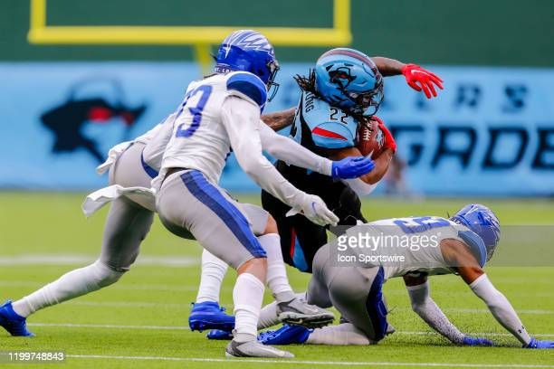 Dallas Renegades running back Marquis Young gets tackled after gaining a first down during the game between the Dallas Renegades and the St Louis...
