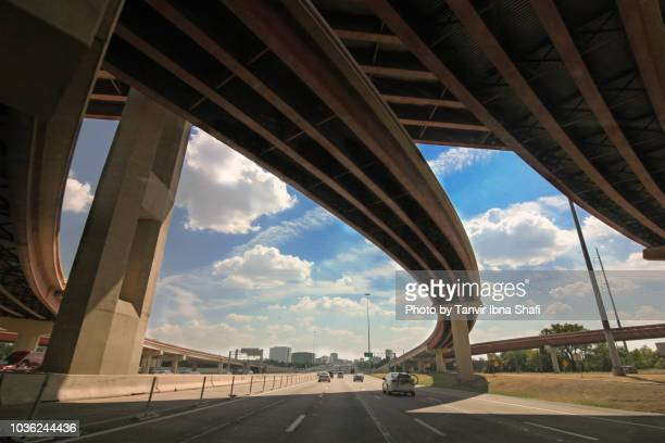 dallas roadways - flyover stock pictures, royalty-free photos & images