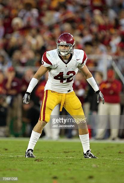 Dallas Sartz of the USC Trojans stands ready on the field during the game against the Stanford Cardinal on November 4, 2006 at Stanford Stadium in...