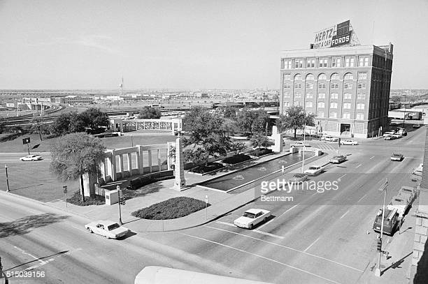 Shown here in this general view bottom left hand corner is Dealey Plaza where JFK Memorial site illustrating as to where the late President John F...