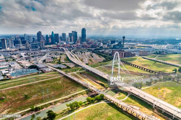 dallas skyline aerial - trinity river texas stock pictures, royalty-free photos & images