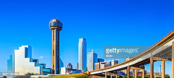 Dallas Skyline and interstate highway overpass, cityscape and skyscrapers