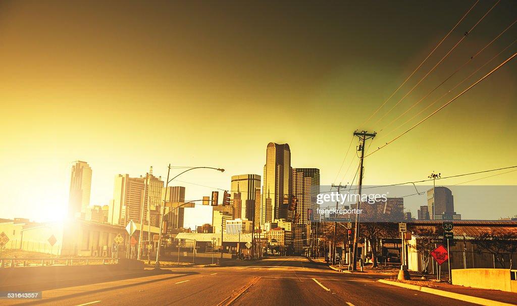 Dallas skyline at dusk : Stock Photo