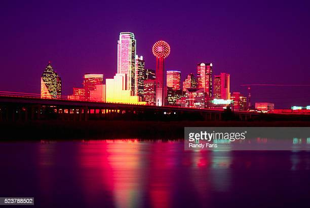 dallas skyline at night - trinity river texas stock pictures, royalty-free photos & images