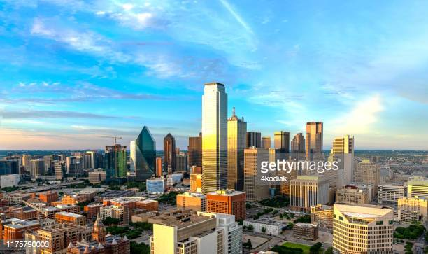 dallas skyline at twilight 2019 - texas stock pictures, royalty-free photos & images
