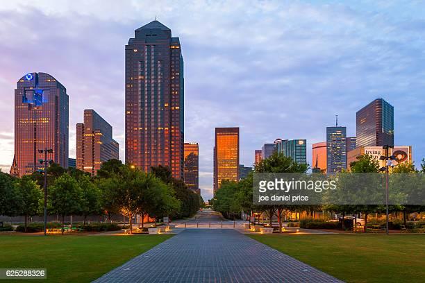 Dallas Skyline, Klyde Warren Park, Sunset, Dallas, Texas, America