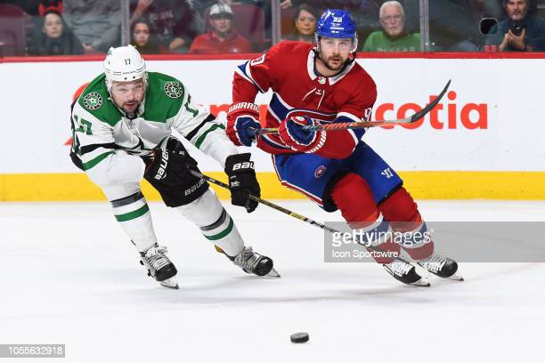 Dallas Stars center Devin Shore chases the puck Montreal Canadiens left wing Tomas Tatar passed during the Dallas Stars versus the Montreal Canadiens...