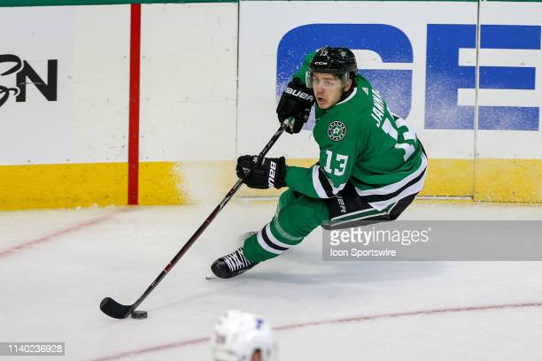 Dallas Stars center Mattias Janmark sets up a short-handed goal during the game between the St. Louis Blues and the Dallas Stars on April 29, 2019 at...