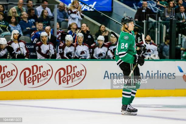 Dallas Stars center Roope Hintz skates past the Colorado Avalanche bench during the game between the Dallas Stars and the Colorado Avalanche on...