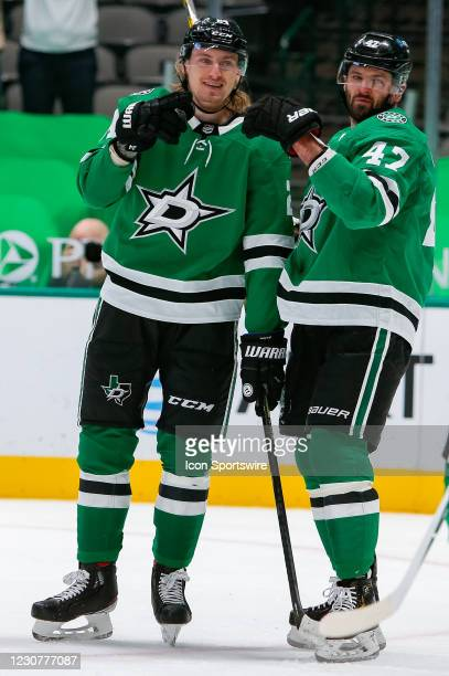 Dallas Stars Center Roope Hintz smiles after scoring a second period goal during the game between the Nashville Predators and Dallas Stars on January...